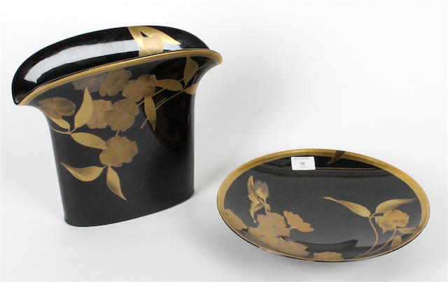 A Hutschenreuther limited edition 'Or Noir' vase and a dish