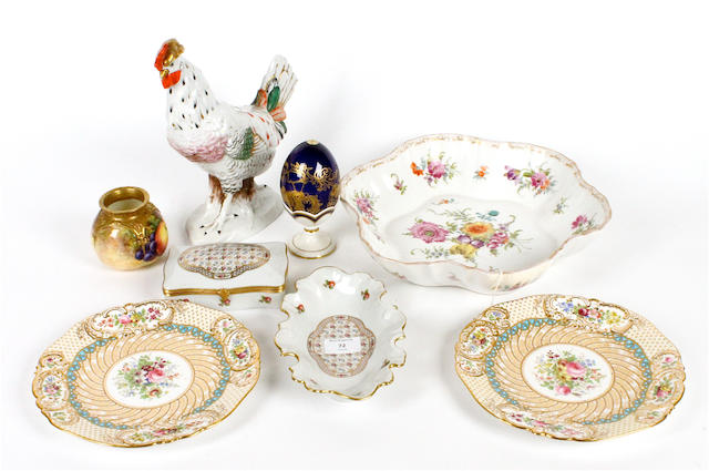 A French porcelain model of a cockerel and a quantity of decorative ceramics