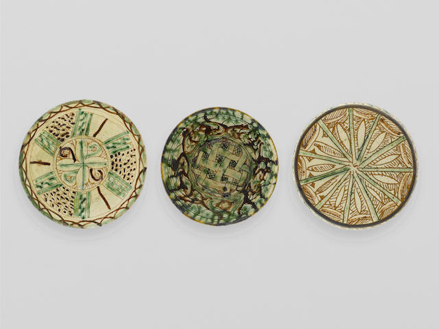 Three Bamiyan sgraffiato pottery Bowls Persia, 12th Century(3)
