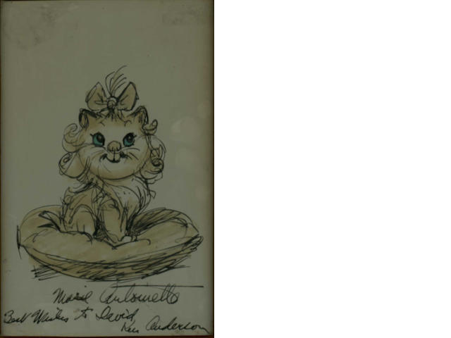 A prototype drawing by Ken Anderson, of Marie Antionette from the film 'AristoCats',   released 1970,