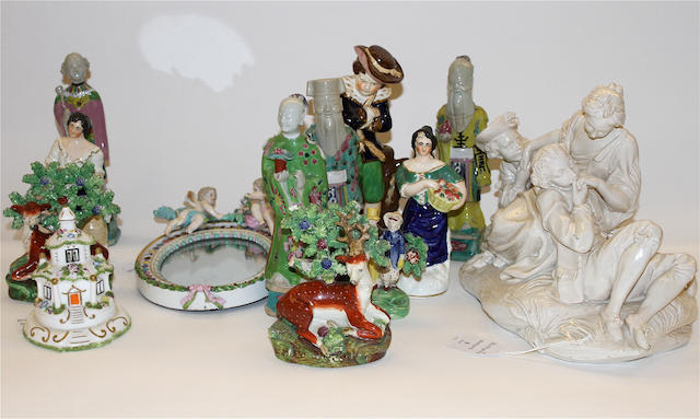 A Meissen mirror, a pair of Staffordshire models of deer, a Contintental white glazed figure group and other decorative figures