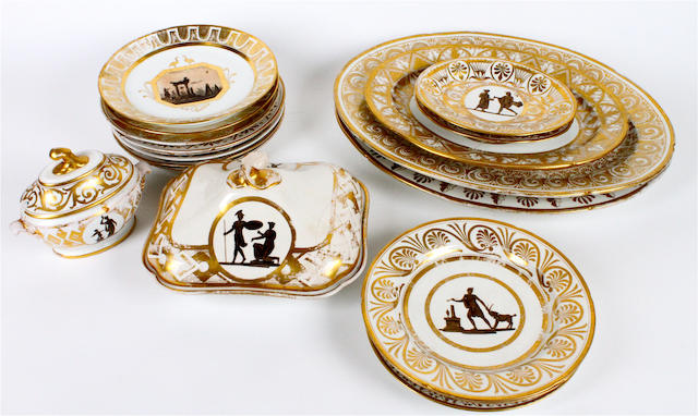 A matched group of porcelain having gilded and classical decoration 19th century