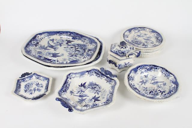 A Royal Crown Derby part dessert service and a quantity of blue and white stoneware