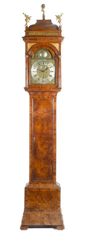 A good early 18th century burr walnut veneer longcase clock Jacob Debaufre , London