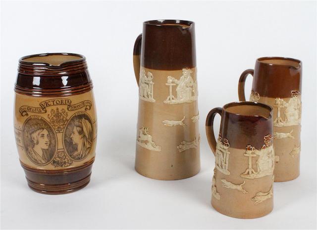 A Doulton Lambeth Queen Victoria Diamond Jubilee Stoneware jug Circa 1897