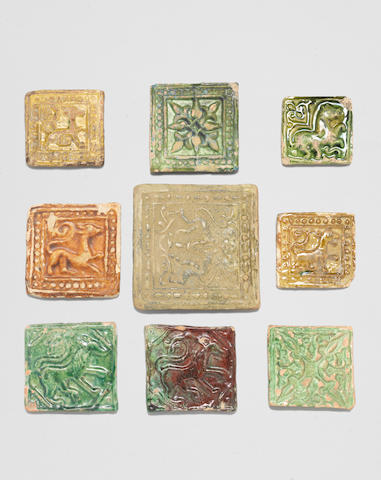 Nine Gaznavid moulded pottery Tiles