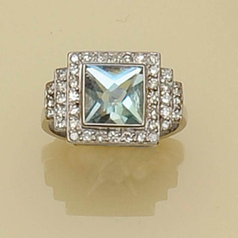 An Art Deco style large square aquamarine cluster ring