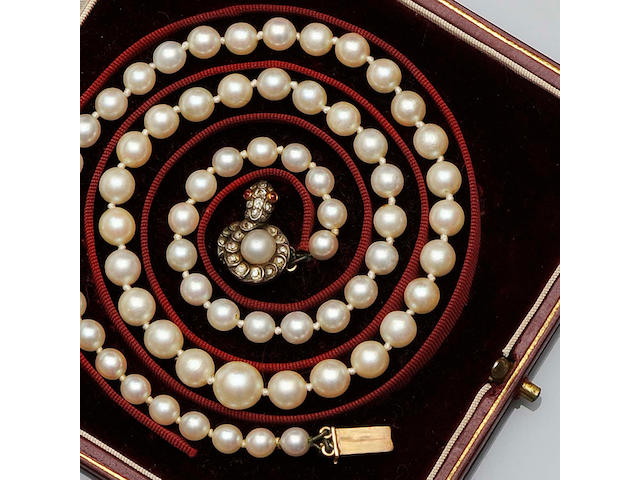 A single row graduated cultured pearl necklace