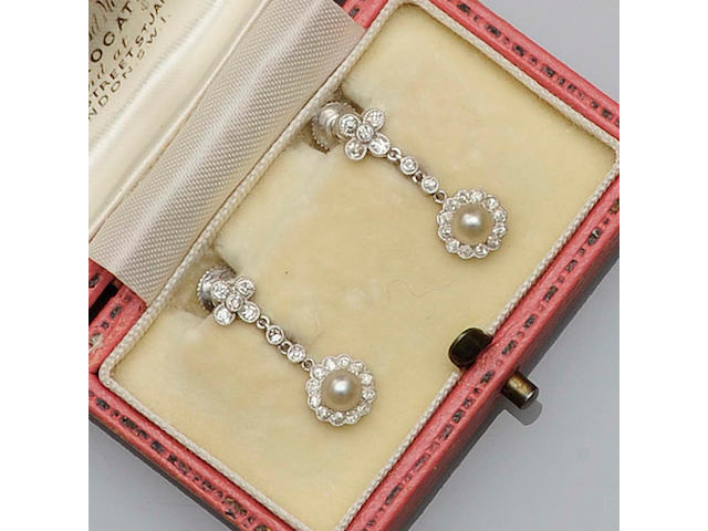 A pair of Edwardian pearl and diamond earrings