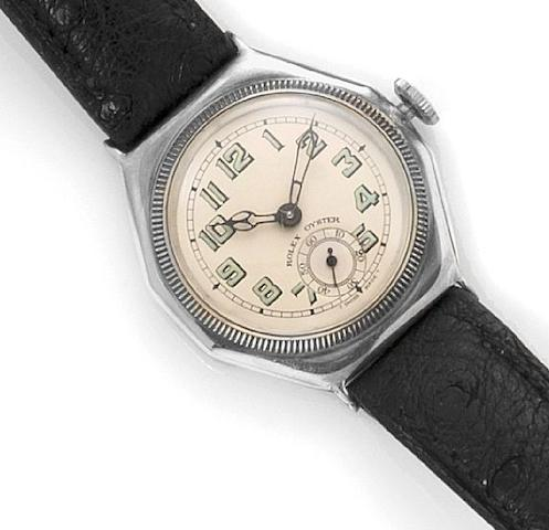Rolex. A sterling silver manual wind wristwatch Oyster, Reference: 1925, Case Number: 260554, hallmarked Dublin import 1928