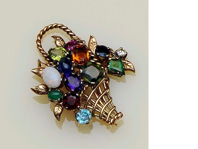 A multi gem set giardinetto brooch