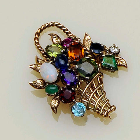 A multi gem set giardinetto brooch