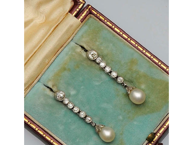 A pair of diamond and pearl earpendants, circa 1910