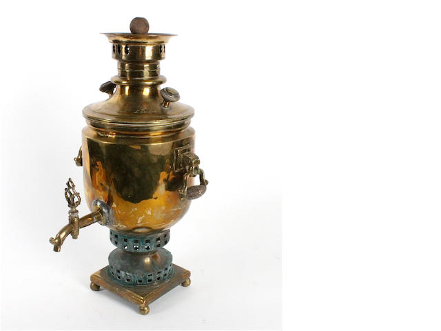 A 19th century Russian brass samovar