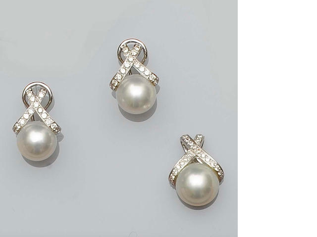 A cultured pearl and diamond pendant and earring suite