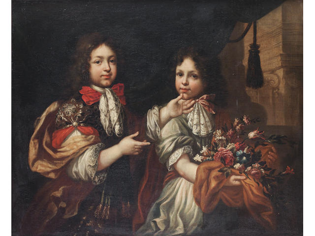 Studio of Pierre Mignard (Troyes 1612-1695 Paris) Portrait of two boys, three-quarter-length, one holding a bouquet of flowers