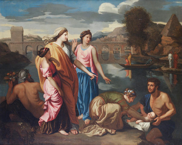 Follower of Nicholas Poussin The Finding of Moses, oil on canvas, 85 x 106 cm