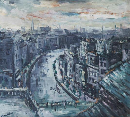 George Campbell R.H.A. (Irish, 1917-1974) City Scene 35.5 x 39 cm. (14 x 15 1/2 in.)