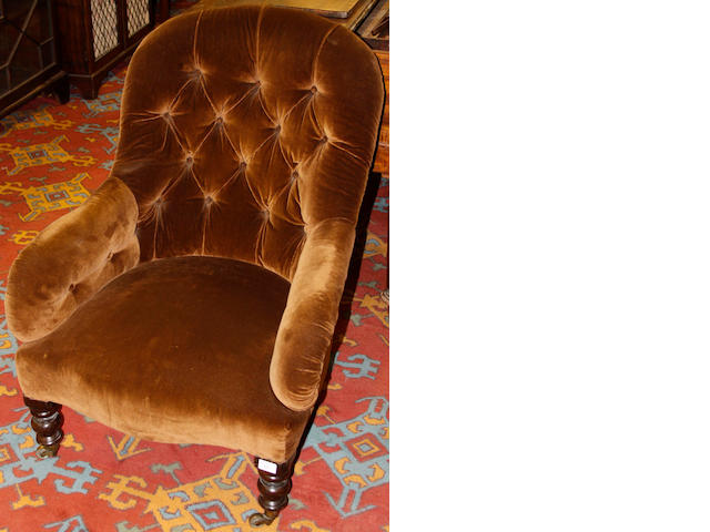 A Victorian drawing room armchair,