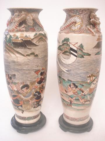 A pair of Satsuma vases Meiji, signed Satumi-Sei