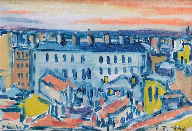 Fikret Mualla (1903-1967) Parisian Roof Tops,