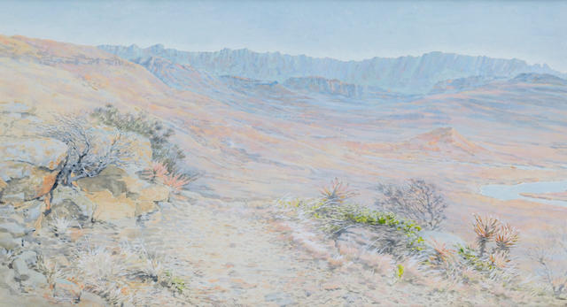 Mildred Anne Butler (Irish, 1858-1941) Drakensberg Mountains, South Africa 19.5 x 35 cm. (7 3/4 x 13 3/4 in.)