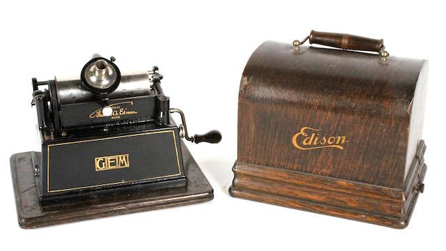 An Edison Gem phonograph, circa 1905,