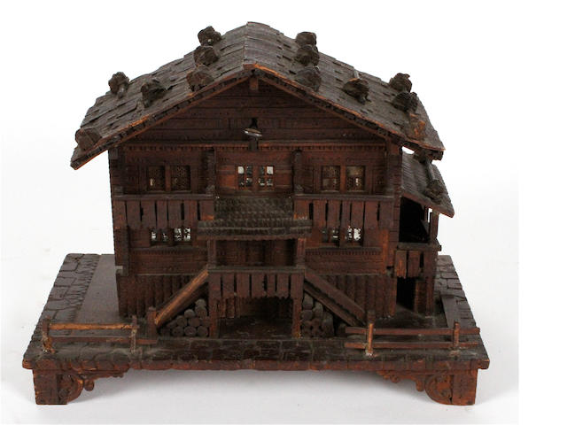 A good miniature musical box in Swiss chalet case, circa 1900,
