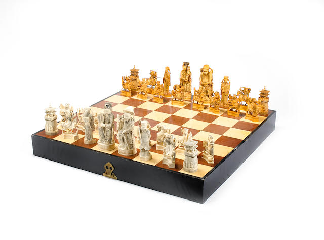 A Chinese ivory figural chess set of large size Hong Kong, circa 1965