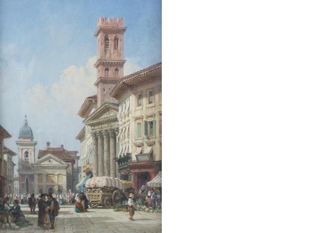 William Wyld (British, 1806-1889) Continental market scene