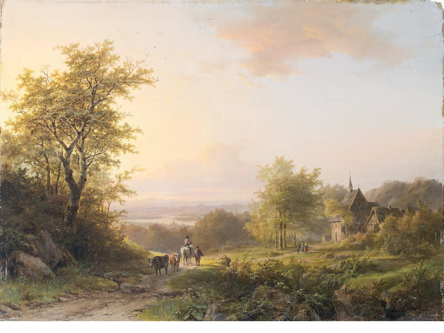 Johann Bernard Klombeck (Belgian, 1815-1893) Landscape with figures on a country path, a church beyond unframed