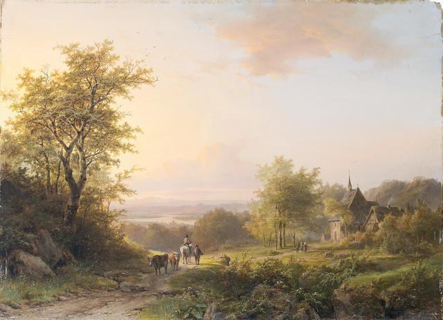 Johann Bernard Klombeck (Belgian, 1815-1893) Landscape with figures on a country path, a church beyond unframed