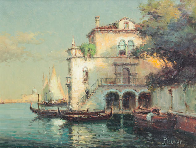Noel Georges Bouvard (French, 1912-1975) Venetian Palazzo with a distant view of Santa Maria Della Salute; Venetian backwater with gondolas