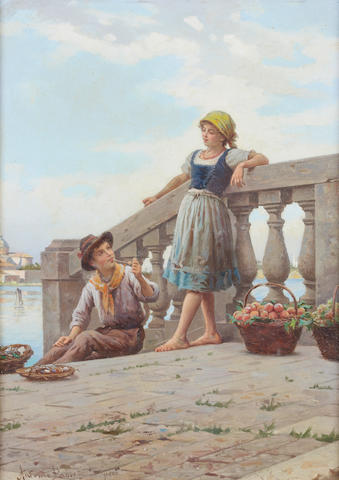 Antonio Ermolao Paoletti (Italian, 1834-1912) Little Merchants
