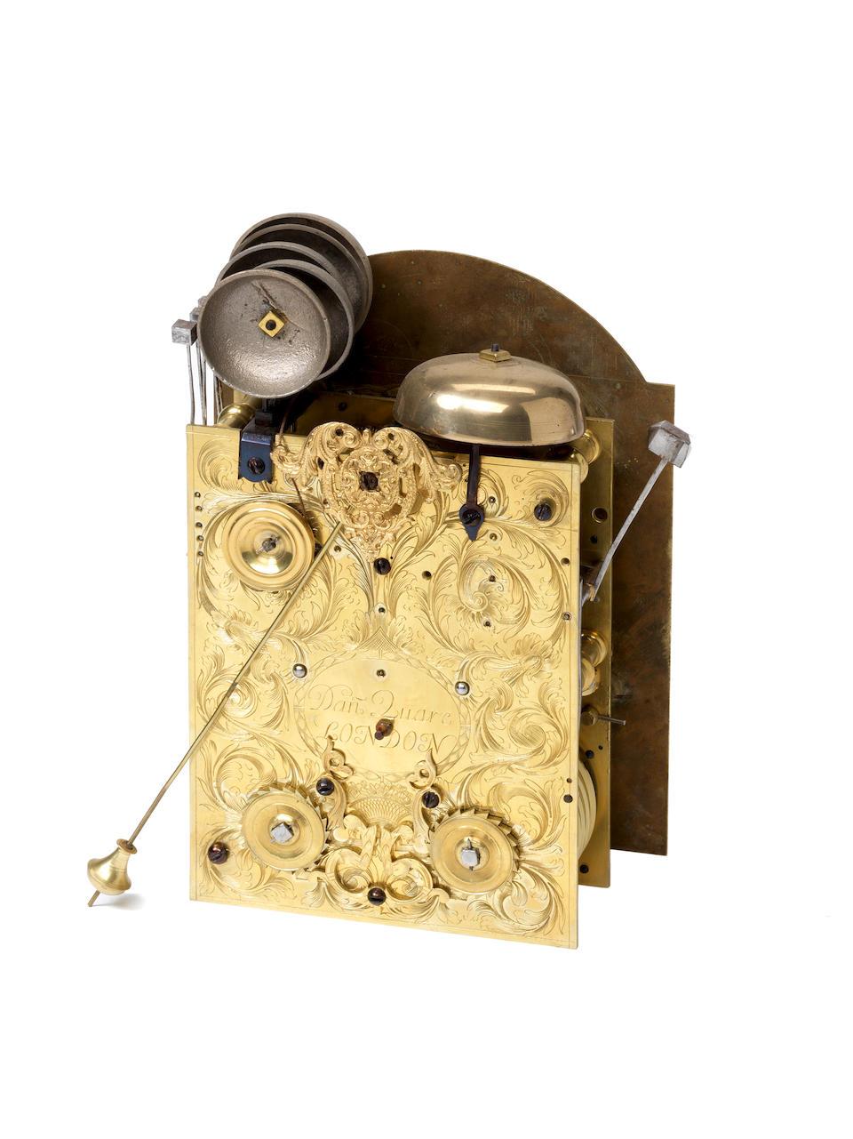 A fine and rare late 17th century ebony veneered quarter repeating double basket top bracket clock Daniel Quare, London