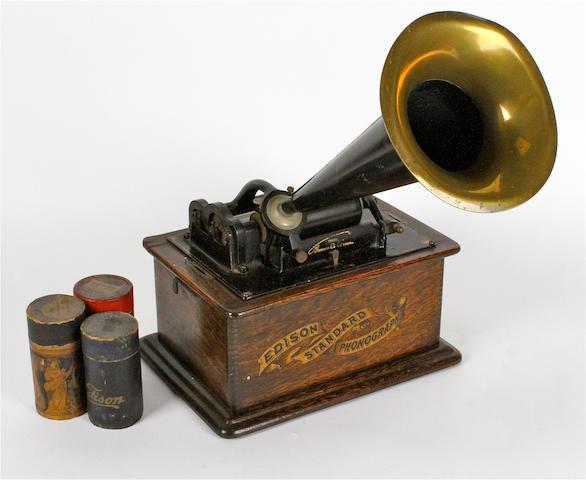 An Edison Standard phonograph, circa 1903,