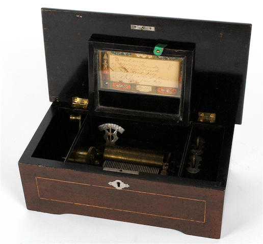 A small musical box, playing six airs, circa 1885,