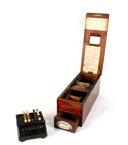 A small mahogany cash till,