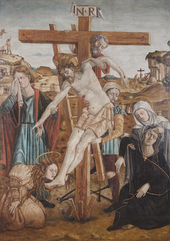 Spanish School circa 1500 The Deposition, oil on panel, 170 x 120 cm