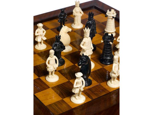 An ivory and ebony figural chess set German, circa 1680-1720