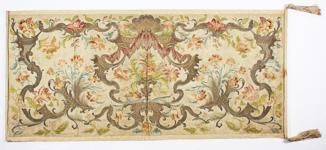 An 18th century foliate embroidered silk panel
