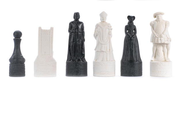 A Wade chess set showing the Kings and Queens of England and Scotland