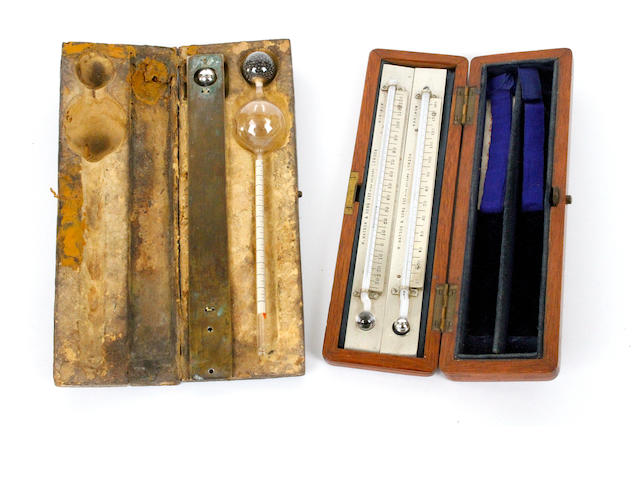 A W Watson & Sons maximum and minimum thermometer set, English,  mid 19th century,  (2)