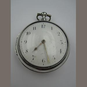 A George III silver pair cased open face pocket watch, with fusee movement and verge escapement, signed Pemberton London 16101, hallmarked 1814.