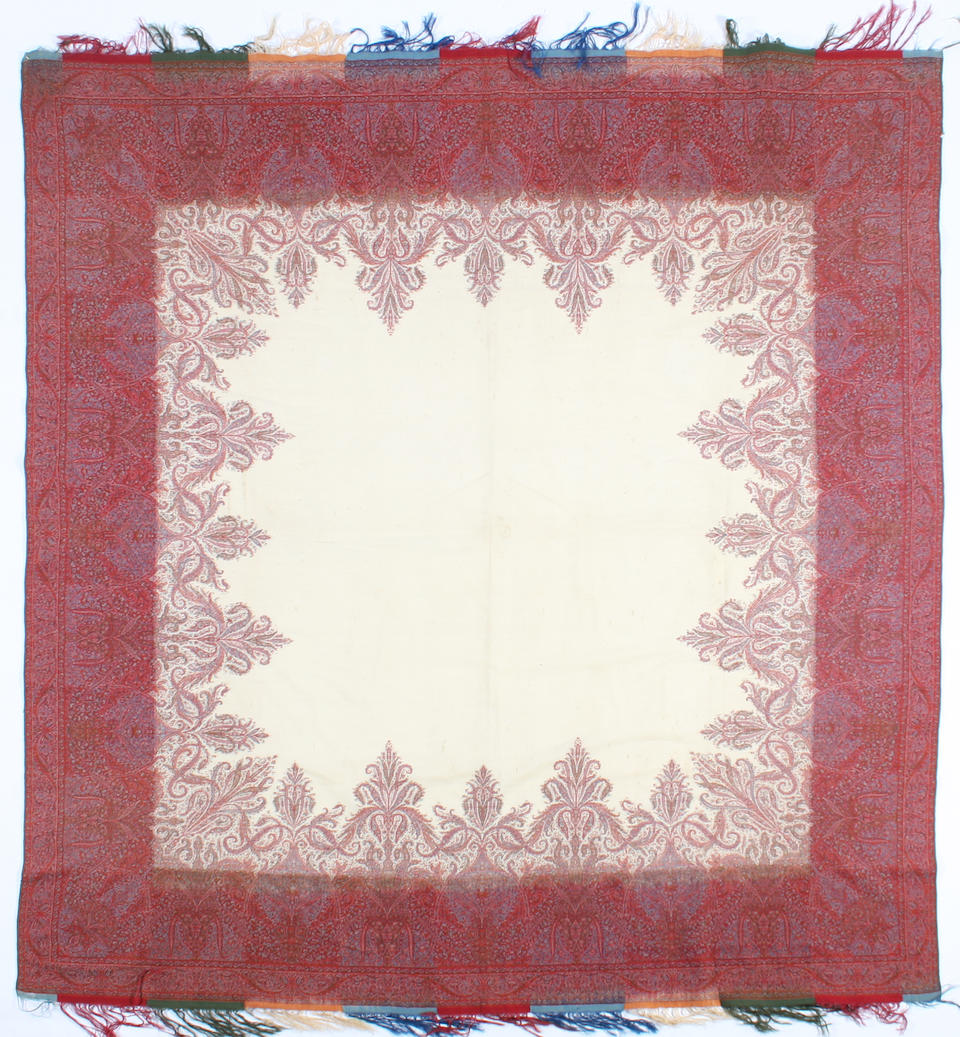 Two square paisley shawls