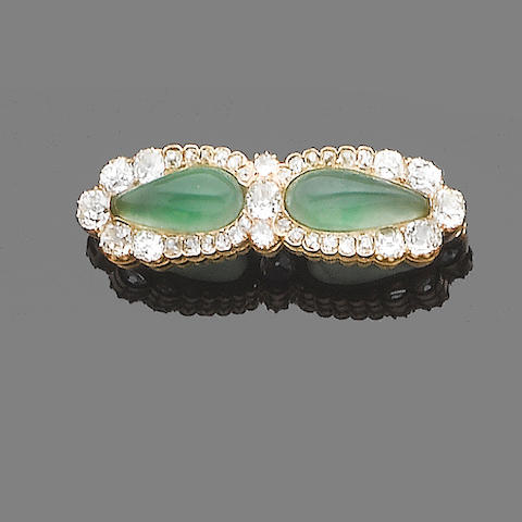 A jade and diamond brooch