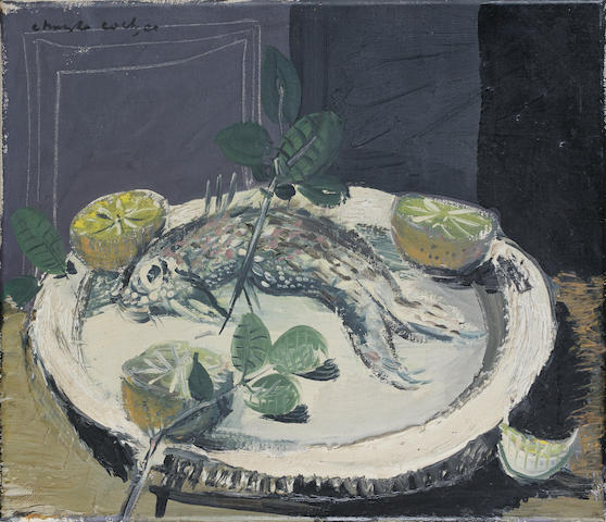 Christo Coetzee (South African, 1929-2001) Still life with fish and lemons unframed