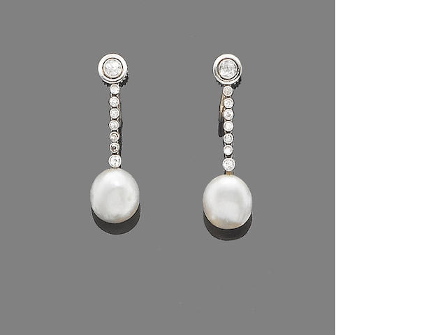 A pair of pearl and diamond pendent earrings,
