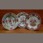 Three Chinese famille rose plates