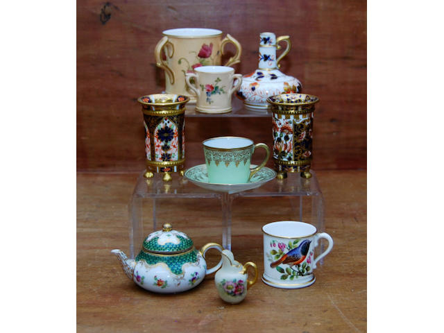 A collection of porcelain miniatures